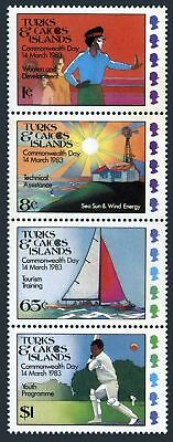 Turks & Caicos 555-558a strip,MNH.Michel 425-428. Commonwealth Day 1983.Sailing,