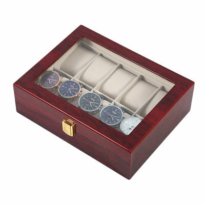 Practical 10 Grids Wooden Watch Box Jewelry Display Collection Storage Case PC