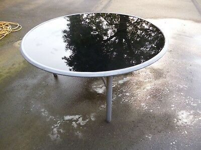 round smoked glass and Metal Garden Dining Table Outdoor Furniture