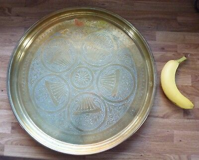 Vintage large Brass tray from North Africa