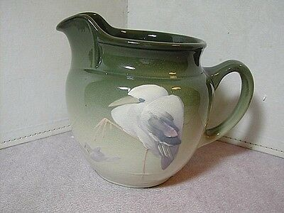 Vintage Owens Lotus Pitcher Hand Painted Heron ~ Base is Marked by Hand ~