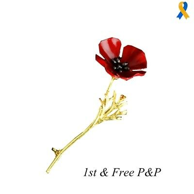 2017 Vintage Style Red Poppy Flower Brooch Lapel Pin + Velvet Pouch