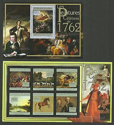 Guinea 2012 Art Paintings Stubbs Wildlife Dogs Horses Lions Set Of 2 M/sheets