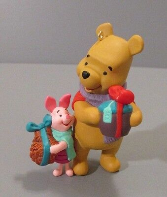 2001 Hallmark Disney Pooh and Piglet Carrying Gifts Ornament