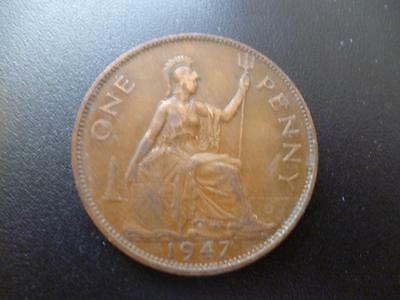 1947 One Penny Coin King George The Sixth, Bronze, Good Used Condition.