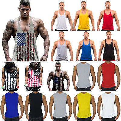 Mens Bodybuilding Muscle Tank Top Sleeveless Gym Sport Fitness Singlet T-shirt