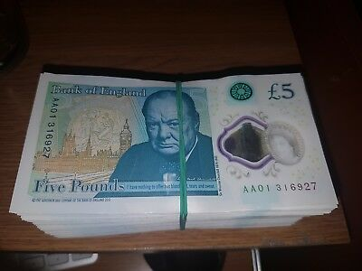 Bank of England Polymer £5 Five Pound Note Genuine AA serial number - YOU CHOOSE