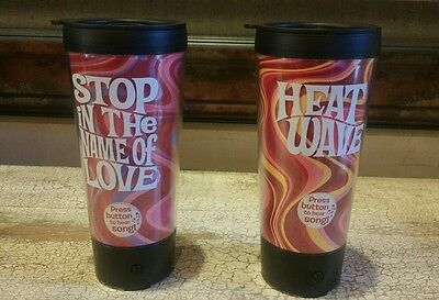 Set of 2 Hallmark Musical Coffee Cup/Mugs HEAT WAVE- STOP IN THE NAME OF LOVE NE