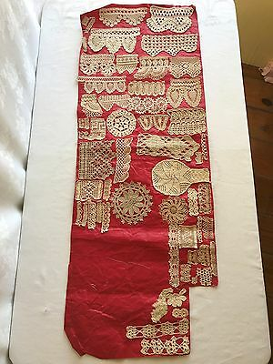 Antique 1800's Crochet Lace Trim Edging Samples Book Pages Teaching Patterns