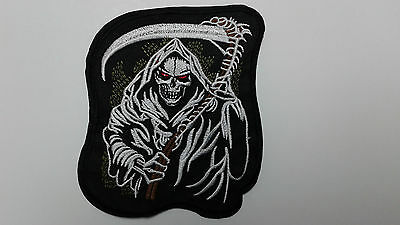 """1 pc. Grim Reaper biker EMB PATCH 4"""" x 4-5/8"""" for sew-on/iron-on"""