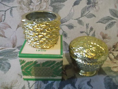 AVON Vintage painted glass Golden Pine Cone & lidded jar candle holders  box
