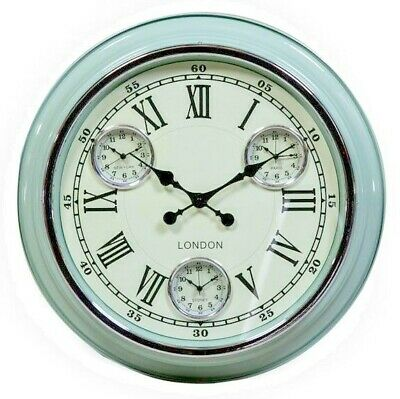 Large Multi Dial Time Zone Wall Clock Vintage Blue White Face 50cm Diameter
