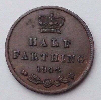 Dated : 1844 - Copper - Half Farthing - Coin - Queen Victoria - Great Britain