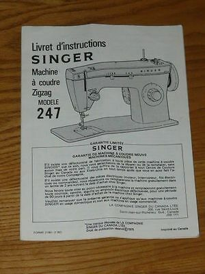SINGER 247 SEWING MACHINE Zig-Zag FRENCH Owners Manual - Book - Booklet - Guide