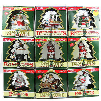 Coca-Cola Coke Christmas Ornament Lot 9 Bottling Works - Polar Bear - Trim  Tree