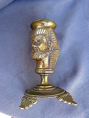ANTIQUE RARE FRENCH BRASS CANDLESTICK WITH EGYPTIAN HEAD 2nd HALF 19th Cent.