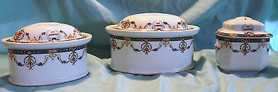 Limoges Wm. Guerin & Co. France The Mandarin Set Of 3 Dishes Beautiful Look!!!