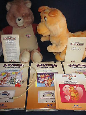 Teddy Ruxpin, Grubby, Cable, 4 Books, 3 Cassettes 1984/1985 WOW Lot ~ VINTAGE