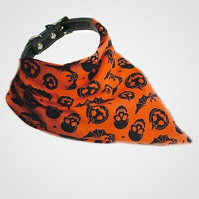 Halloween Handmade Dog / Pet Bandana Orange / Black - Size Small