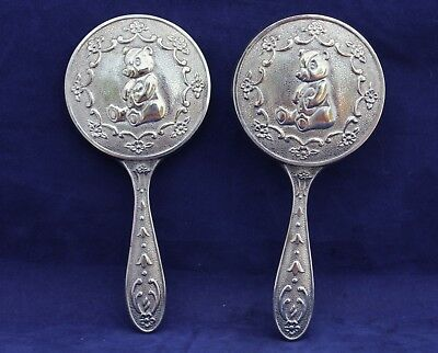 Vintage Baby Hair Brush & Mirror Set - Silver Tone Teddy Bear Design