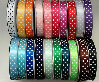 """Polka Dot Satin Ribbon 25mm (1"""") wide 1m 2m 5m or 10m lengths Lots of Colours"""