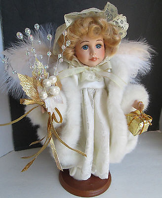 "Christmas Angel 13"" Doll Centerpiece Display Feather Wings Wood Composite Base"