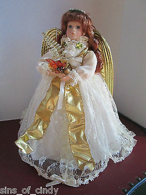 "Porcelain Angel Christmas Tree Topper or Centerpiece 16"" Doll Quality"