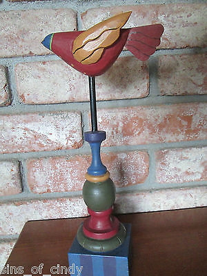 """Primitive Flying Bird on Pedestal Midwest Of Cannon Falls 12"""" Tall Americana"""