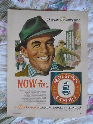 L19 Jan 1956 Molson Export largest selling Ale Canada print ad advertisement