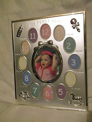 Lovely baby gift - silver & gold toned My First Year 13 photo frame - never used