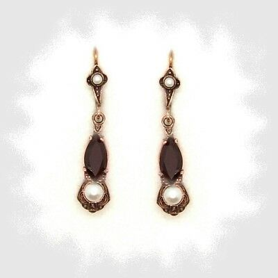 Vintage garnet marquise shaped earrings with pearl // ГРАНАТ328#PK