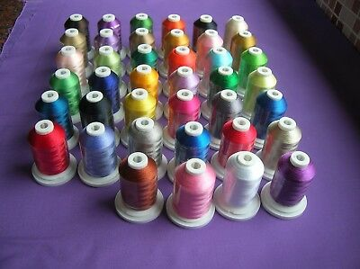 40 Brother Colours Polyester Machine Embroidery Thread 1000M Spool 120D/2 40 Wt