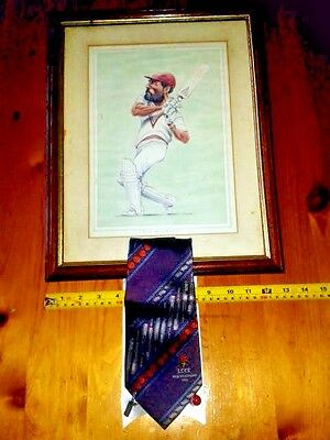 Framed Caricature of Viv Richards by John Ireland with LCCC 2006 Tie & Cufflinks