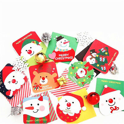 5PCS Merry ChristmaS Paper Greeting Card With Envelope Writing Paper Gift Card