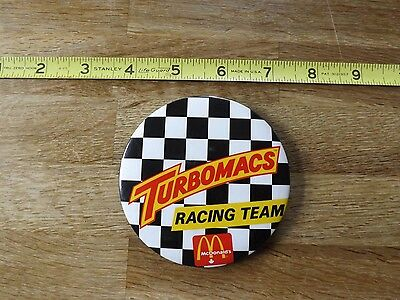 McDonald's 3.5 inch RARE TurboMacs Racing Team Pin in Excellent Condition