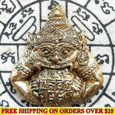 Brass Giant Phra Rahu Om chan ( Moon Eater) Powerful Thai Amulet Talisman Wealth