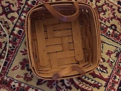1992 Small Square Longaberger Basket With Leather Handles and Plastic Liner