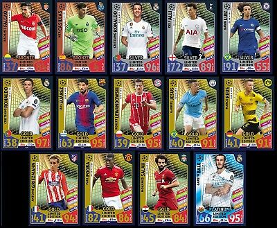 Topps Champions 2018 Limited Edition Match Attax Silver Gold Bronce Oro Plata
