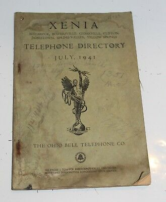 Vintage 1941 XENIA OH Telephone Directory Phone Book Ohio Bell Telephone Co.