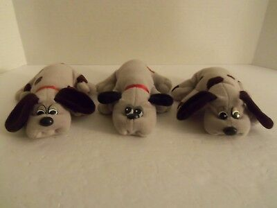 "Lot of 3 Vintage Tonka 7"" Gray w/ Brown Spots Newborn Pound Puppy Plush Dogs"