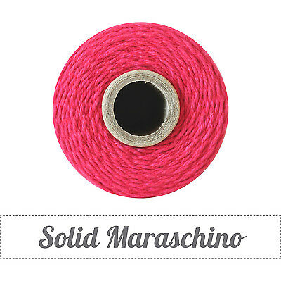 Spool Solid 4Ply Twine ~240 yds-100% Cotton-Maraschino Christmas Cherry Red