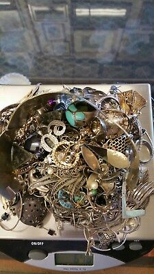 Sterling silver jewelry lot scrap or wear 647 grams total