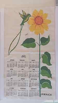 JAMAICA 1974 WALL CALENDAR ON CANVAS Bright and Beautiful 30 X 16 3/4 inches