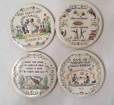 Lot of 4 Cermaic Coasters with Cork Backing - cross stitch look - Dutch -