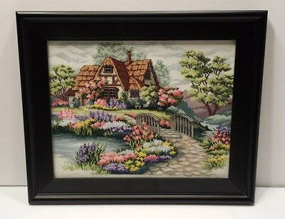 COMPLETE CROSS STITCHED COTTAGE Framed with Glass Beautiful Art Wall Hanging