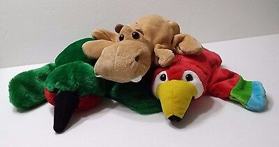 Dream Hand Puppets Lot of 3 Hippo and 2 Birds Stuffed Animal Story Teller