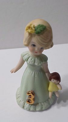 Vintage Enesco Growing Up Birthday # 3 Blonde Collectible Figure