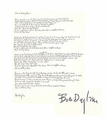 Bob Dylan Signed Handwriten Lyrics to Like a Rolling Stone Obtained from Manager