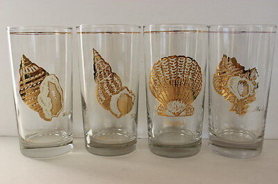 Vintage 4 Culver Different Gold White Seashells Tall Drinking Glasses USA