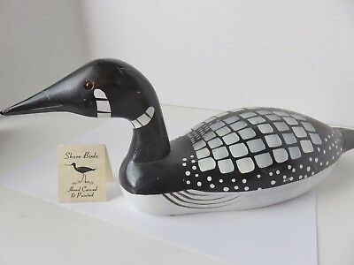 Vintage Hand Carved & Painted Wooden Loon Duck Decoy by E. Gallego